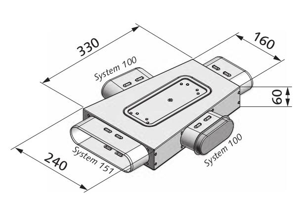 Luftverteilkasten mit 3-Abgängen